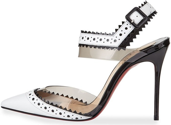 Christian Louboutin 'Chouette' Pinked-Edge Red Sole Pump, White