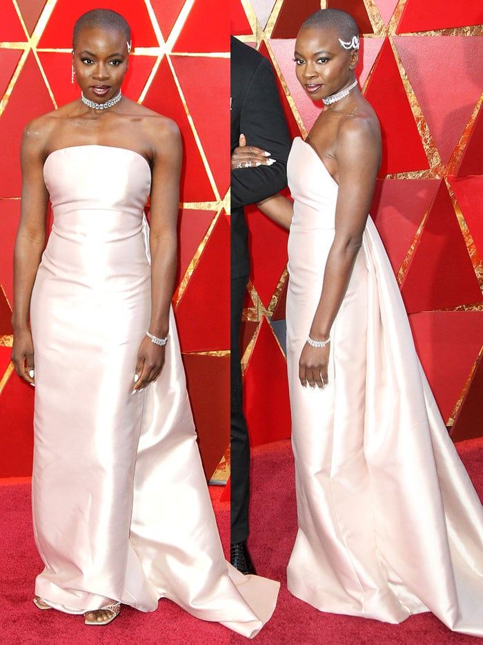 Danai Gurira in a Gabriela Hearst Fall 2018 column gown and Sergio Rossi 'SR1' sandals at the 2018 Oscars.