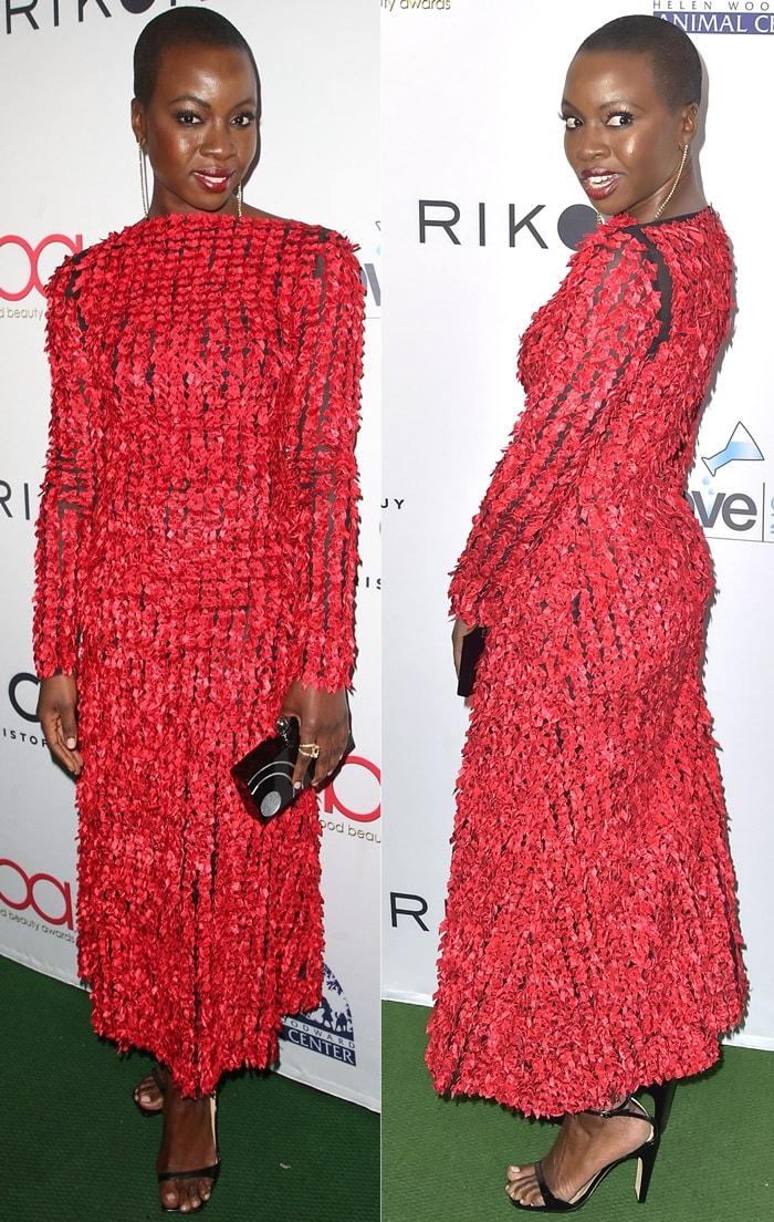 Danai Gurira's red long sleeve midi Christopher Kane dress