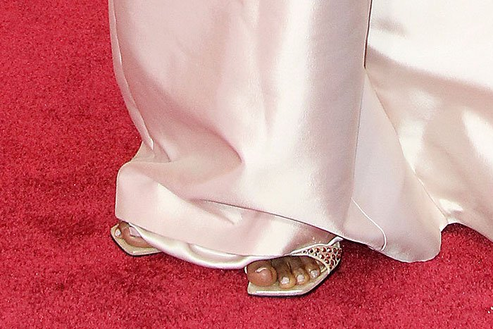 Details of the Sergio Rossi 'SR1' crystal-studded sandals on Danai Gurira.