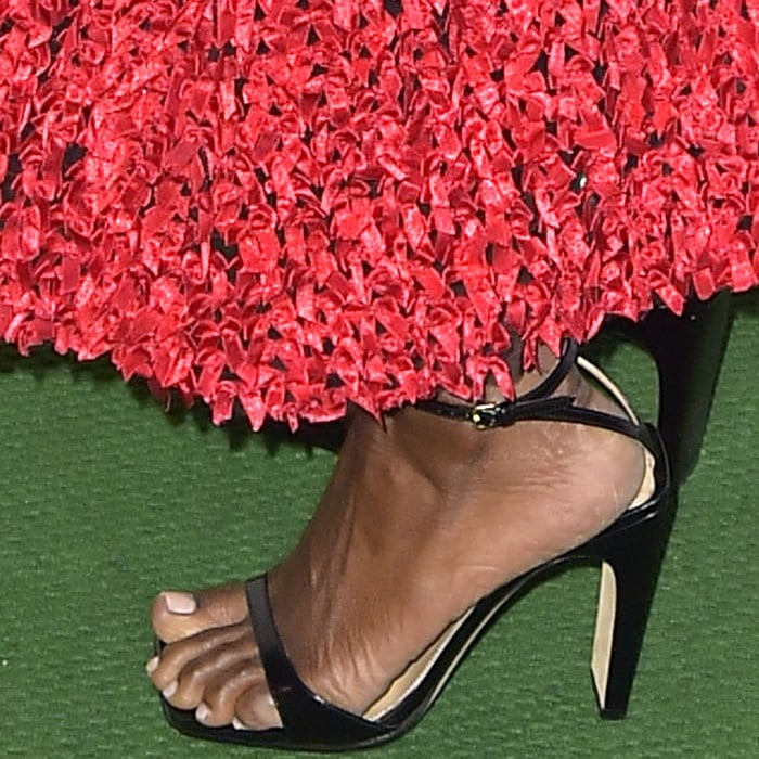 Danai Gurira's feet in Sergio Rossi sandals