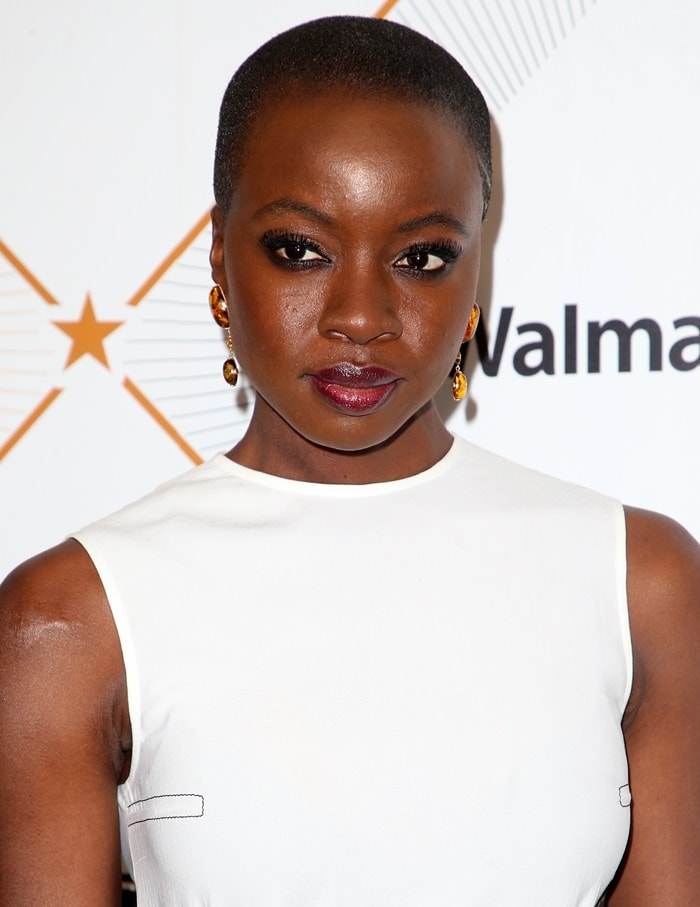 Danai Gurira in a sleeveless dress from Loewe's Spring 2018 collection