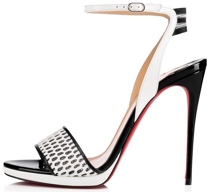 Black/White Sports-Inspired Mesh Toe Strap 'Discoport' Sandals
