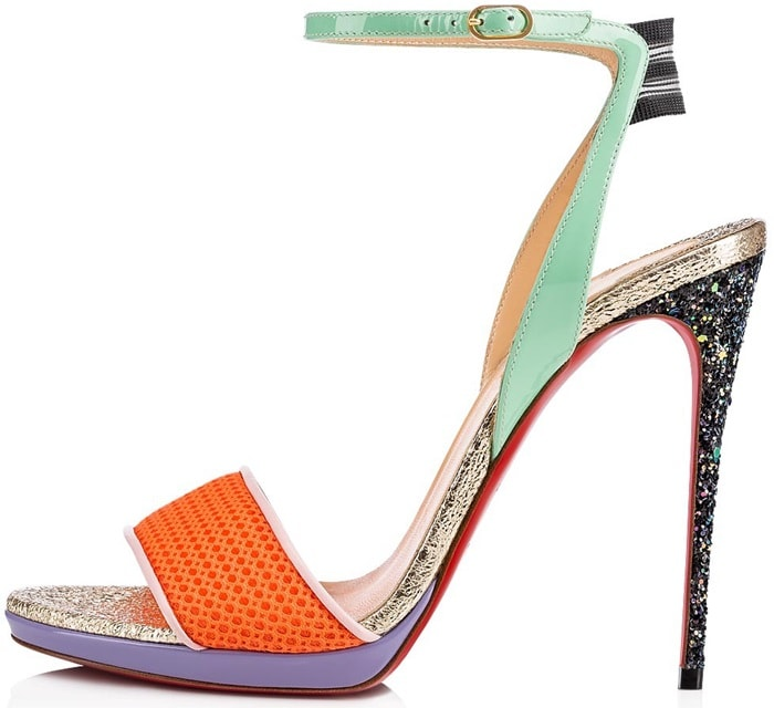 These heelssandals feature an orange mesh toe band, mint green patent leather ankle strap, and gold crackled specchio leather insole