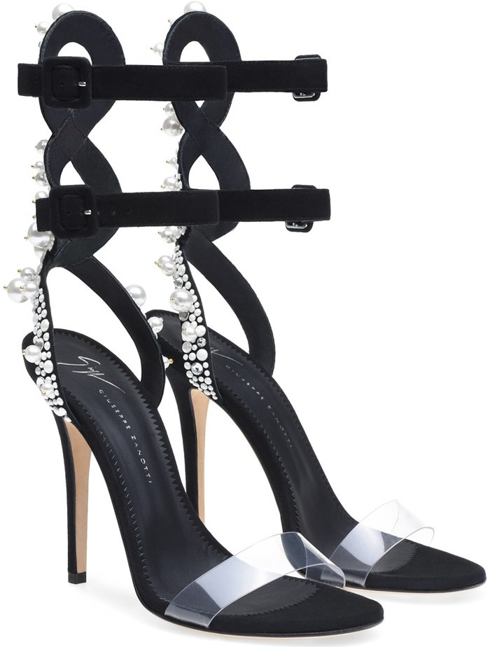 Double ankle strap with gorgeous pearl embellishment and statement-making heel