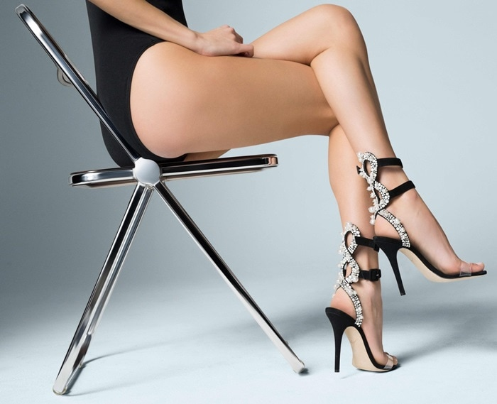 The black suede 'Vanessa' sandal from Giuseppe Zanotti is one complex beauty