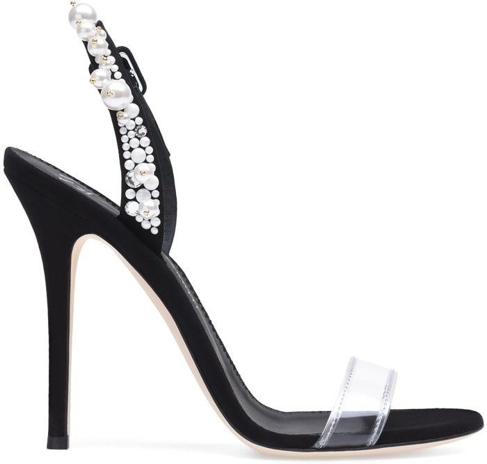 Plexi and suede Eliza sandal with crystals