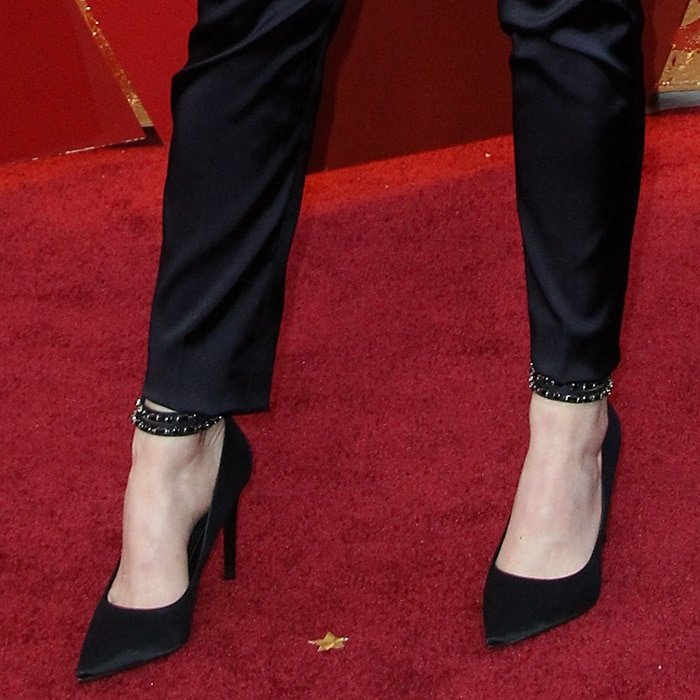 Emma Stone's feet in ankle-strap Louis Vuitton pumps
