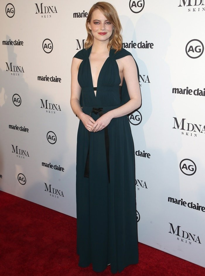 Emma Stone wearing a Louis Vuitton gown at the 2018 Marie Claire's Image Makers Awards in Los Angeles on January 11, 2018