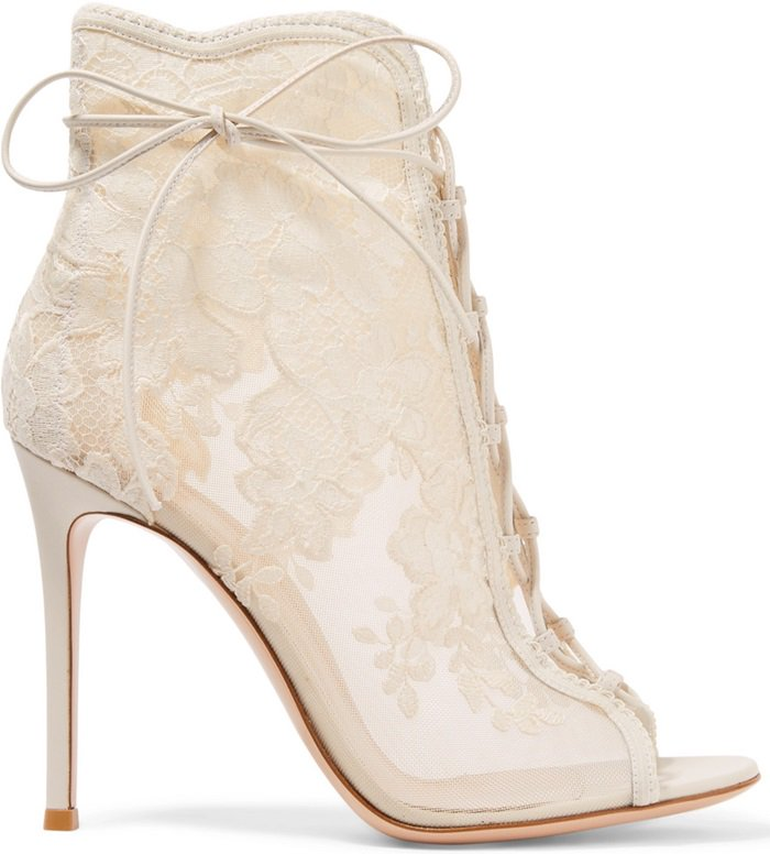 Off-white 'Giada' lace-up mesh, leather and lace ankle boots