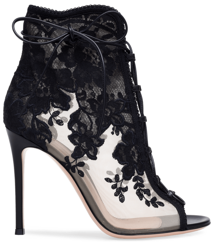 Black 'Giada' lace-up mesh, leather and lace ankle boots