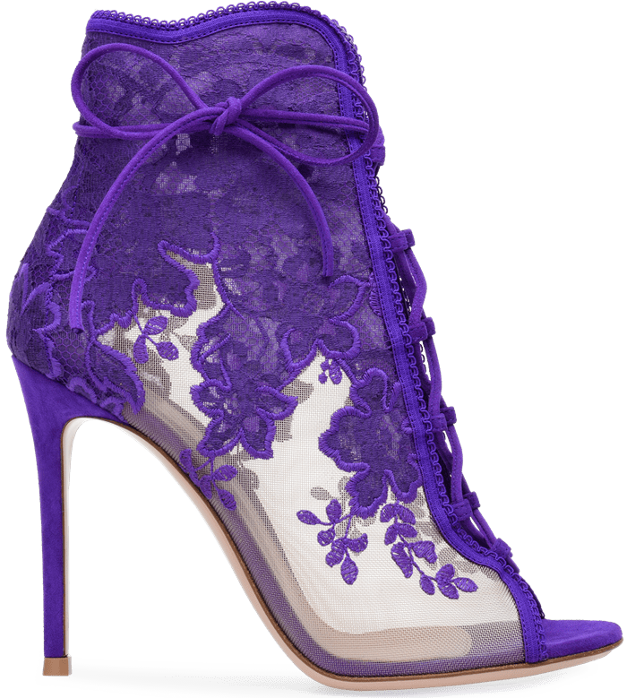 Handcrafted in purple suede embroidered lace with see-through mesh