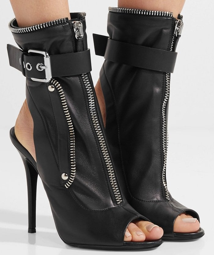 These 'Kendra' boots are fitted with biker-inspired silver zips and buckles