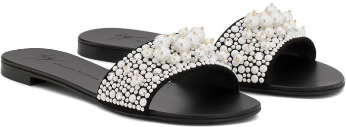 'Vanessa' Crystal-Embellished Leather Slides