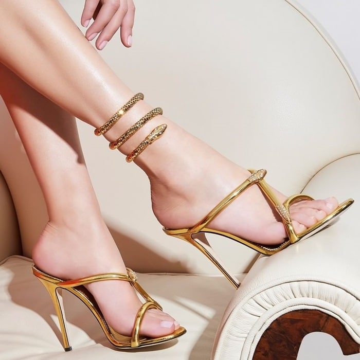 Gold laminated 'Aleesha' mule with snake detail