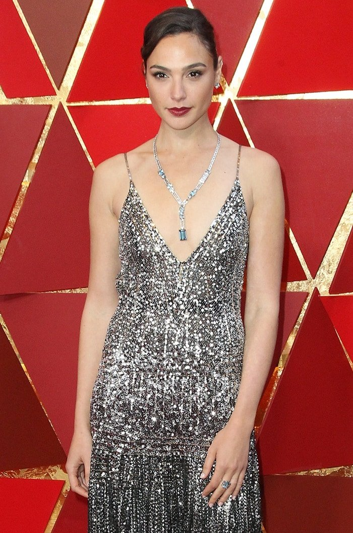 Gal Gadot in a silver sequin Givenchy Spring 2018 Couture gown