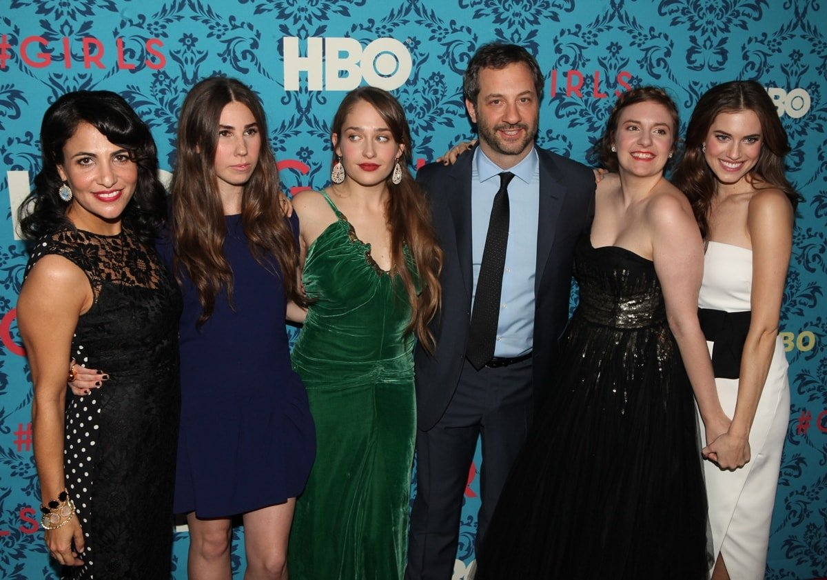 """Producer Jenni Konner, Zosia Mamet, Jemima Kirke, producer Judd Apatow, actress/creator/executive producer Lena Dunham, and Allison Williams at the New York premiere of HBO's """"Girls"""""""