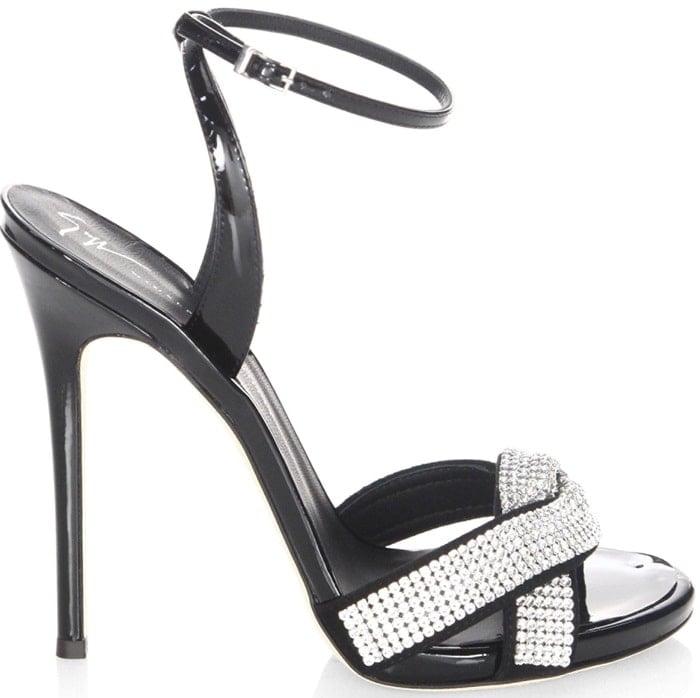 Giuseppe Zanotti Swarovski Crystal Embellished Leather Stiletto Heel Sandals