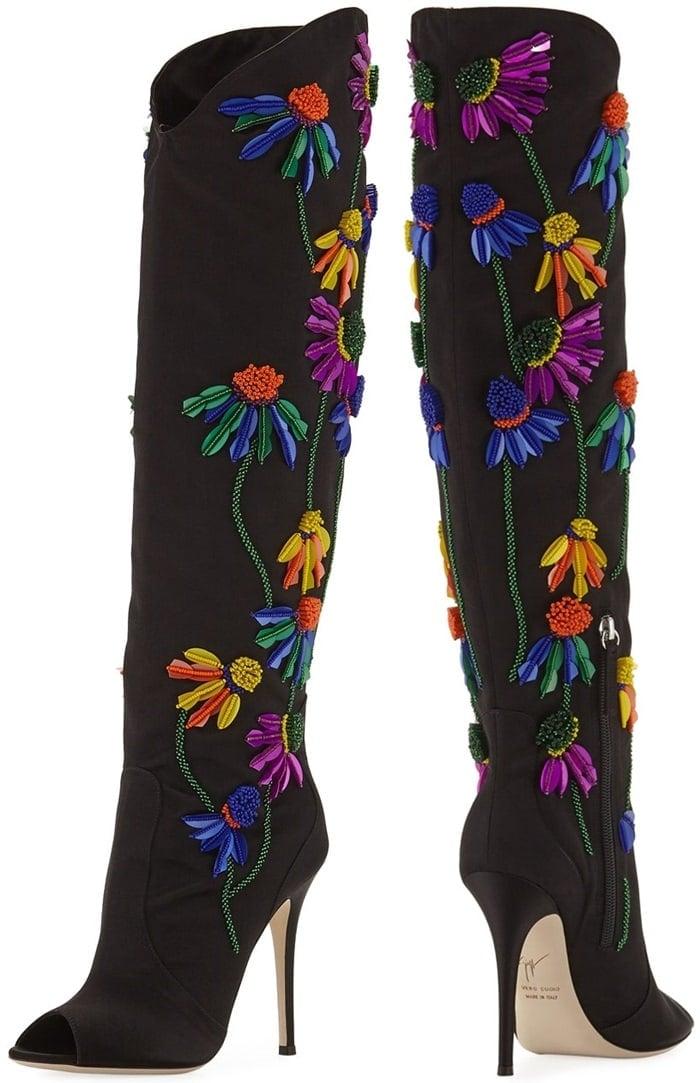 Giuseppe Zanotti Floral-Embroidered Peep-Toe Satin Boots