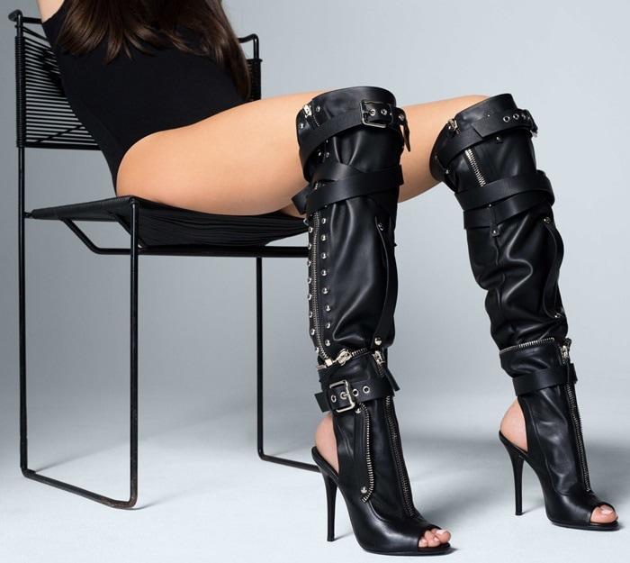 Stiletto bootie with separate leather sheath