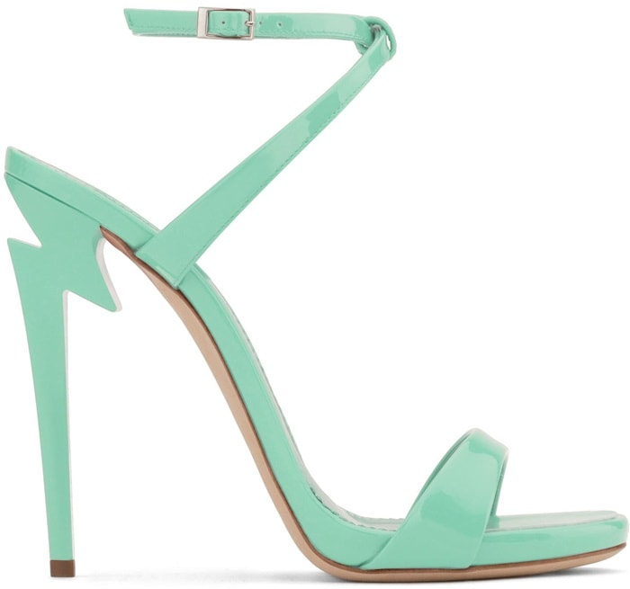 Green patent leather 'G Heel' sandal with 'sculpted' heel