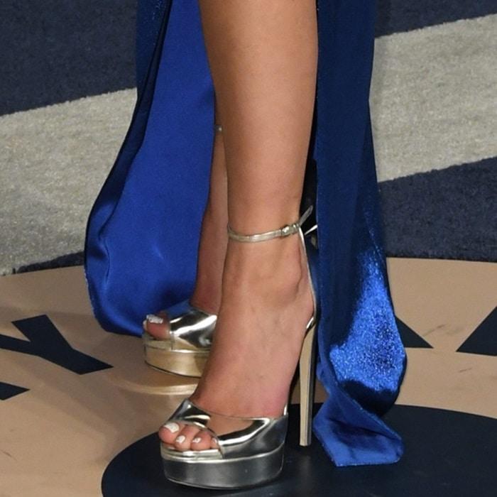 Halsey's pedicured toes in Jimmy Choo metallic heels