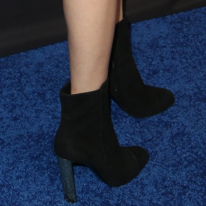 Halston Sage in black suede 'Jessica' boots from Giuseppe Zanotti