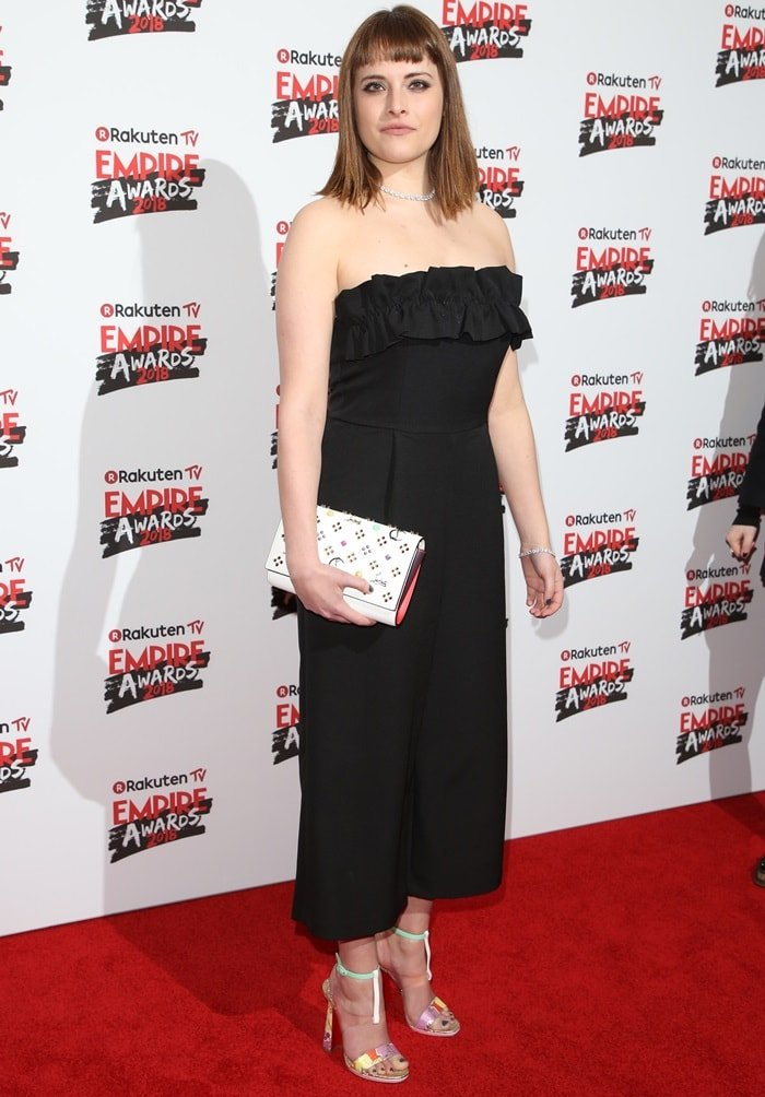 Hannah Britland in a black dress at the 2018 Empire Awards