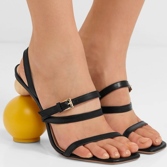 Mismatached Stacked Wooden Shape 'Bahia' Leather Sandals
