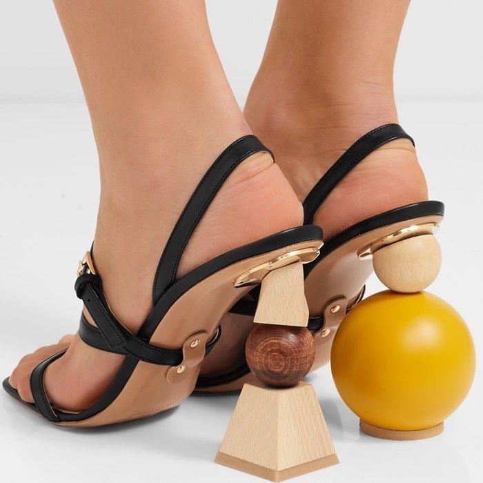 These 'Bahia' sandals are set on mismatched stacked wooden shapes