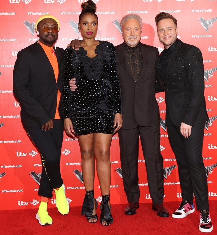 Jennifer Hudson, Tom Jones, Olly Murs, and Will.I.Amat the official photo call for The Voice UK at the W Hotel in London, England, on January 3, 2019
