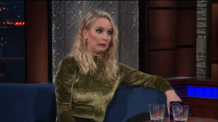 """Jennifer Lawrence drunk on """"The Late Show with Stephen Colbert."""""""