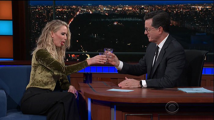 Jennifer Lawrence getting drunk during her interview with Stephen Colbert.