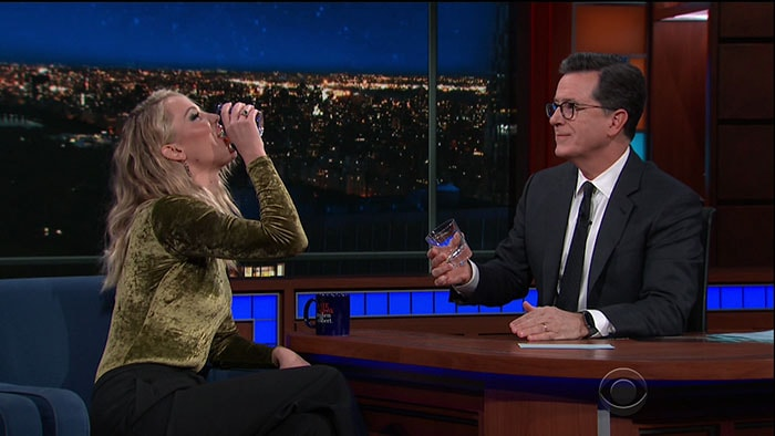 "Jennifer Lawrence having a drink with ""The Late Show"" host Stephen Colbert."