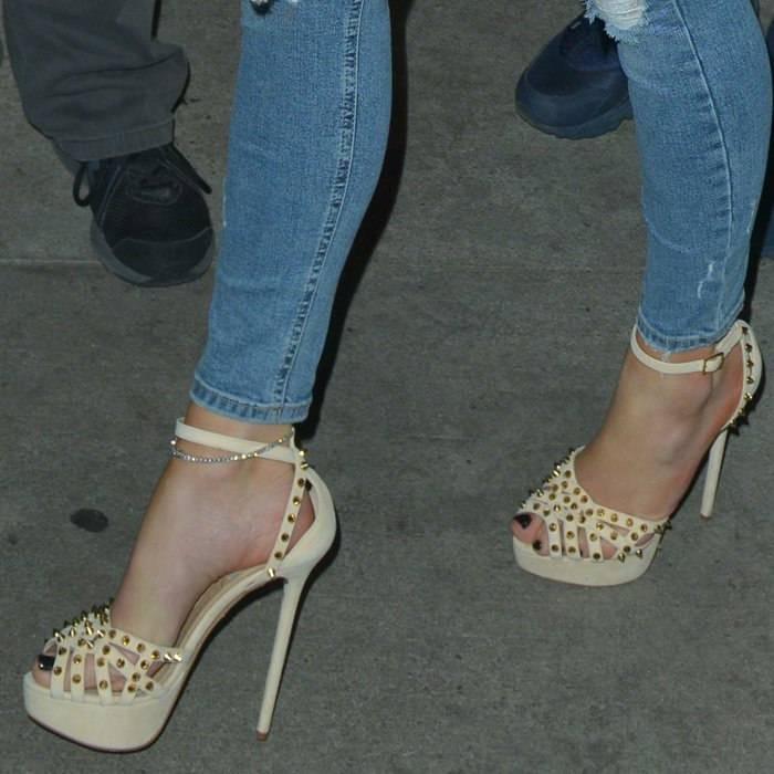 Jennifer Lopez's feet in studded shoes by Charlotte Olympia