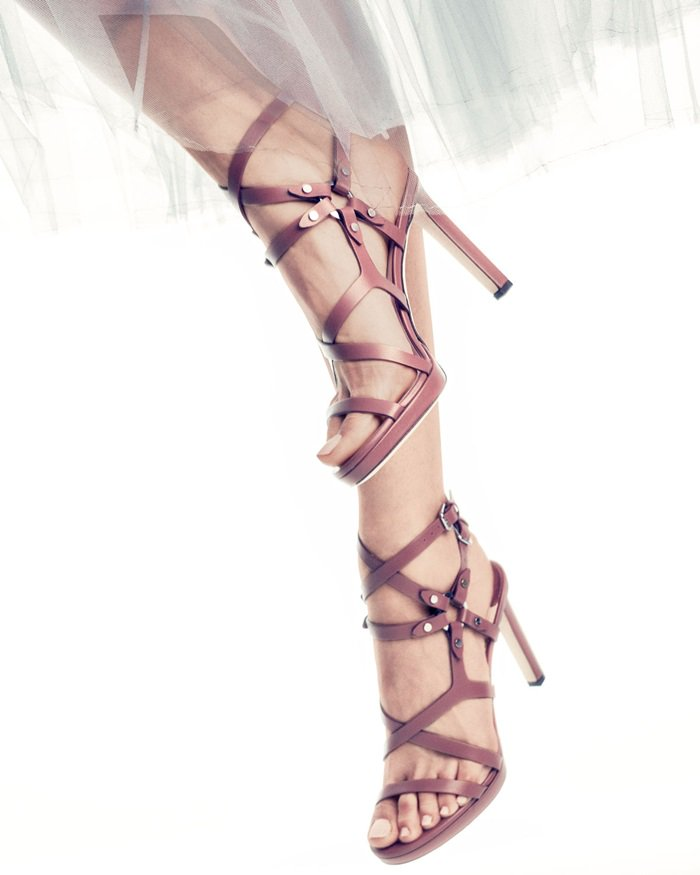 Light Red Jimmy Choo 'Monica' Studded 100mm Sandals
