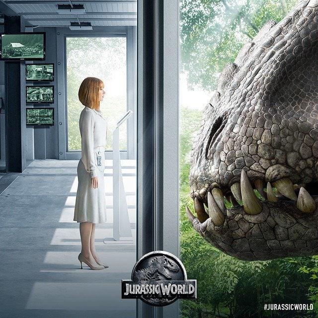 Bryce Dallas Howard runs away from dinosaurs in high heels