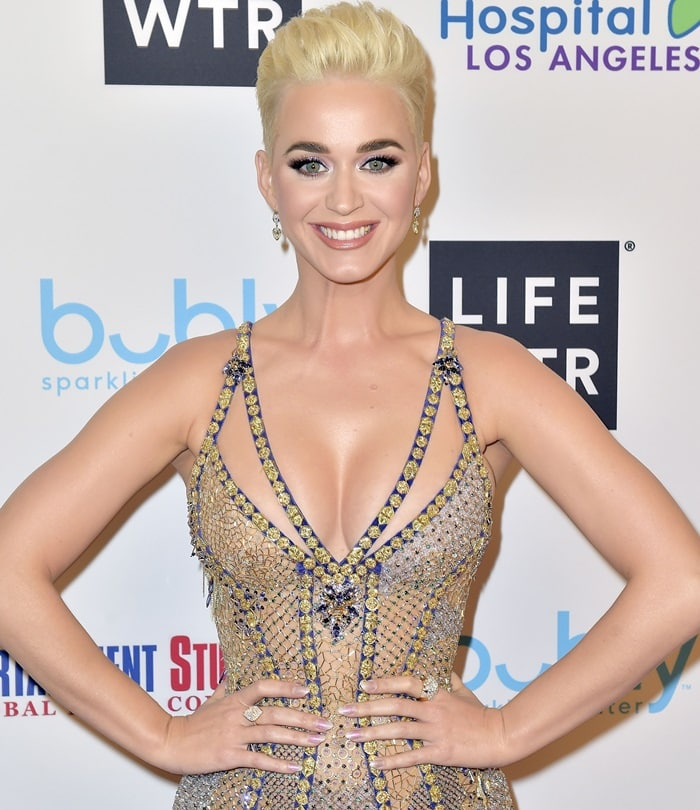Katy Perry wore her cropped blonde locks into a high quiff