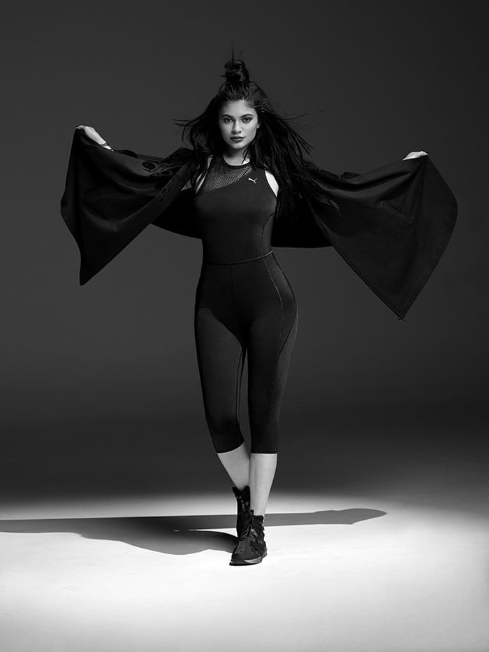 Kylie Jenner modelling the PUMA Swan Pack collection.