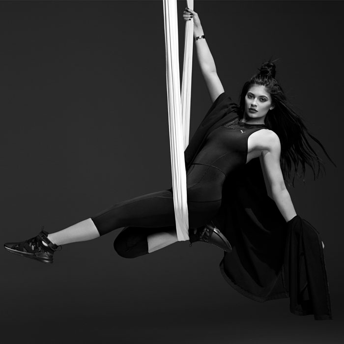 Kylie Jenner aerial dancing in PUMA's ad campaign for the Spring 2017 Swan Pack collection.