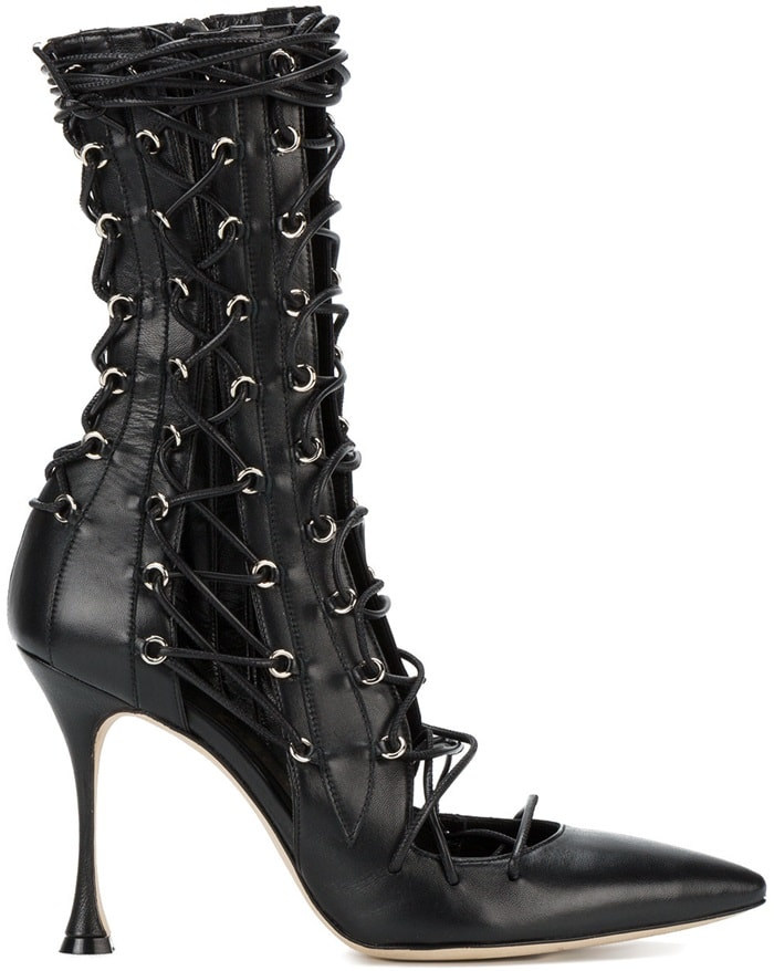 Black Liudmila 'Drury Lane' leather lace-up boots