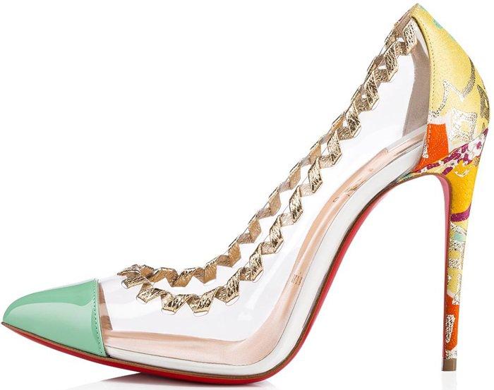 Her clear PVC upper is embellished with an interwoven leather lace at the rim that recalls the precision of embroidery stitching