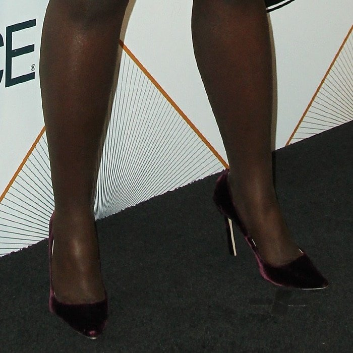 Lupita Nyong'o's feet in Jimmy Choo velvet pumps
