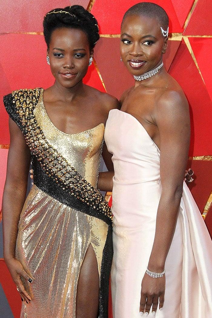 Lupita Nyong'o and Danai Gurira at the 2018 Oscars.