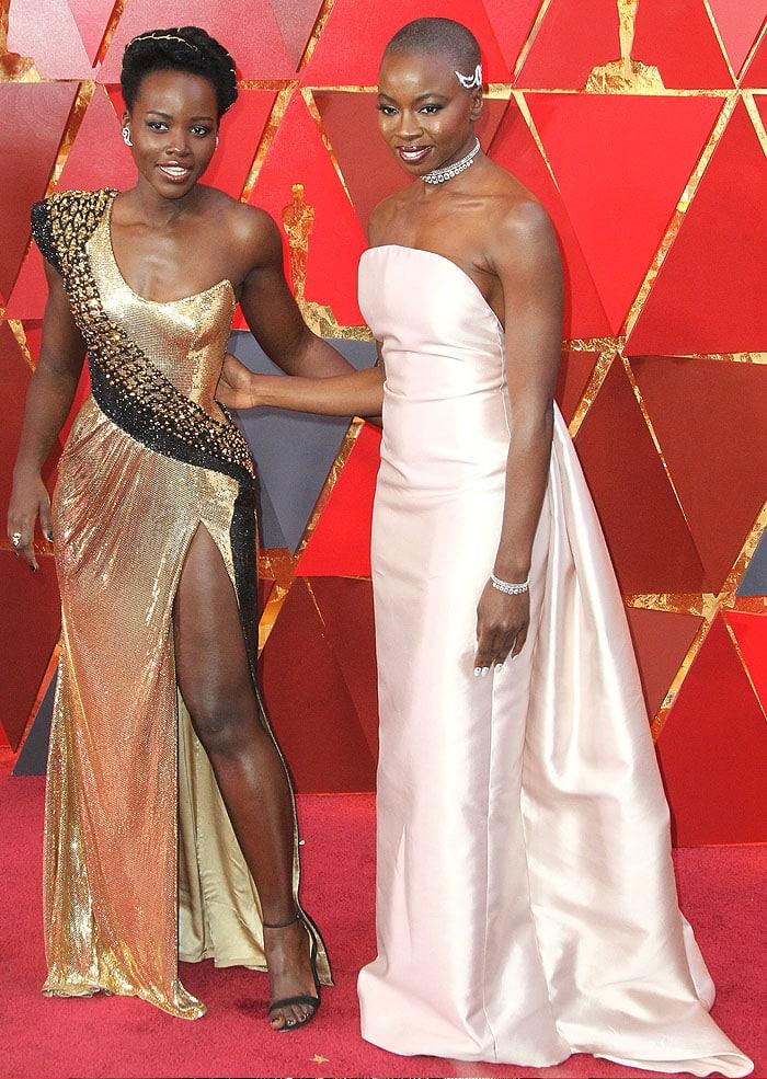 Black Panther stars Lupita Nyong'o and Danai Gurira at the 2018 Oscars.