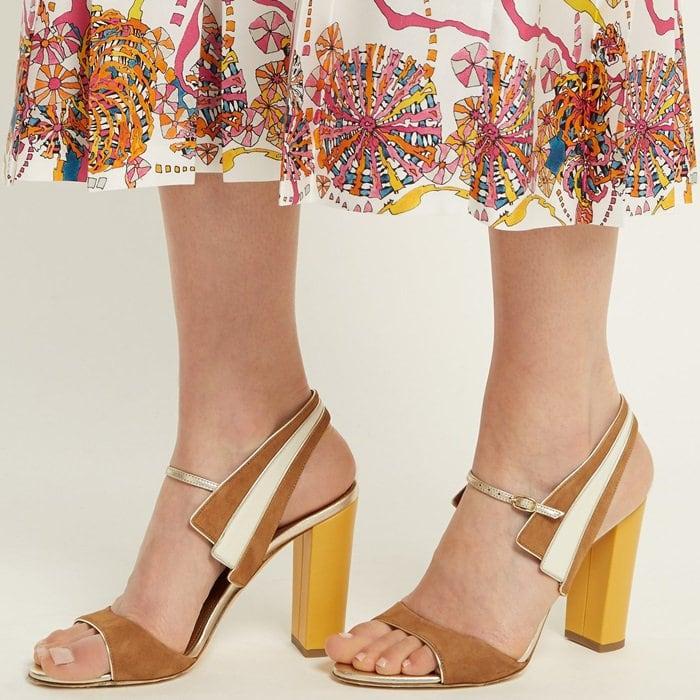 Careen color-block suede sandals