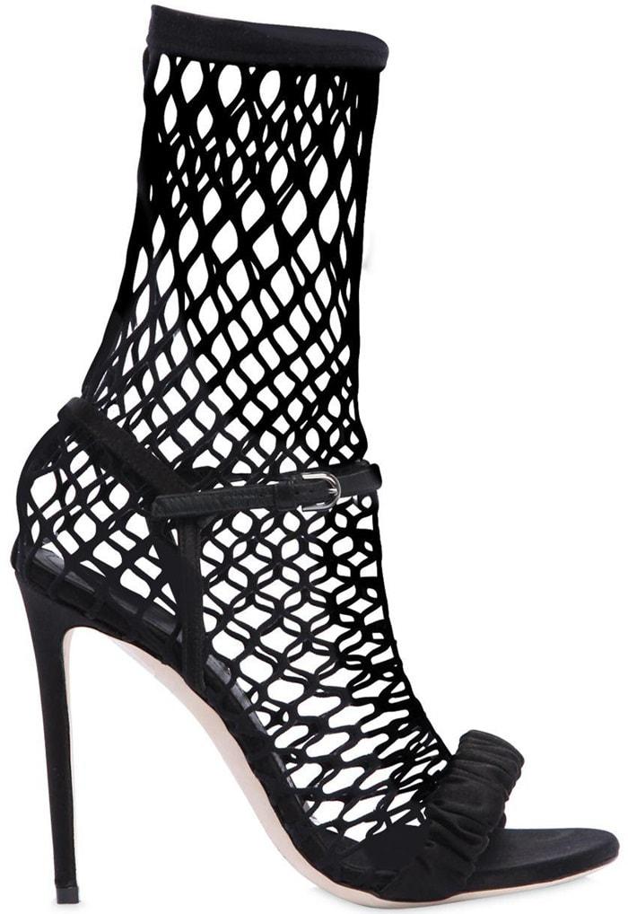 Marco De Vincenzo 120mm Satin & Fishnet Sock Sandals