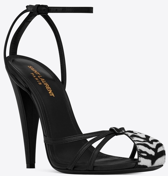 Saint Laurent 'Era' Cage Sandals with Black Leather Tiger Print