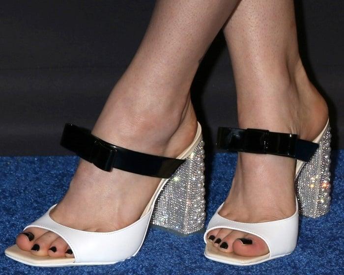 Madeline Brewer's feet inSophia Webster's 'Andie' embellished mule sandals
