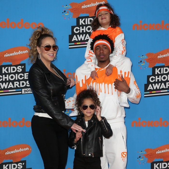 Mariah Carey and Nick Cannon with their twins at the 2018 Nickelodeon Kids' Choice Awards